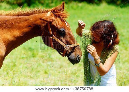 Girl Waving The Flies Away From A Horse Eye.