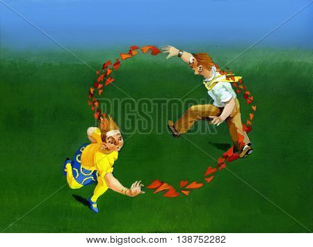 a girl and a boy running in circles chasing the hearts left hand