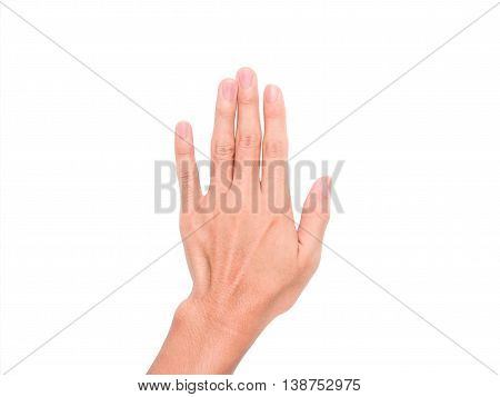 A hand sign point upward meaning five, present, pardon, etc. with white background