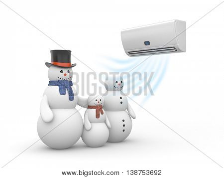 Air conditioner and snowman family. 3d illustration