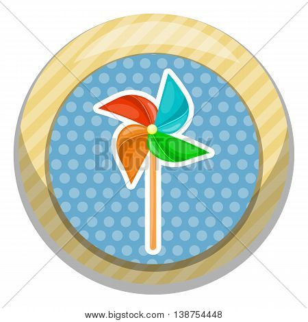 Vector illustration in cartoon style. Paper windmill pinwheel