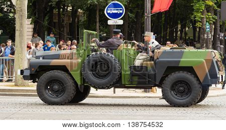 Paris France-July 14 2016 : The military car of Commander of Bastille Day military parade on Champs Elysees avenue in Paris France.