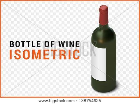 bottle of wine isometric flat vector 3d illustration isolated on white background