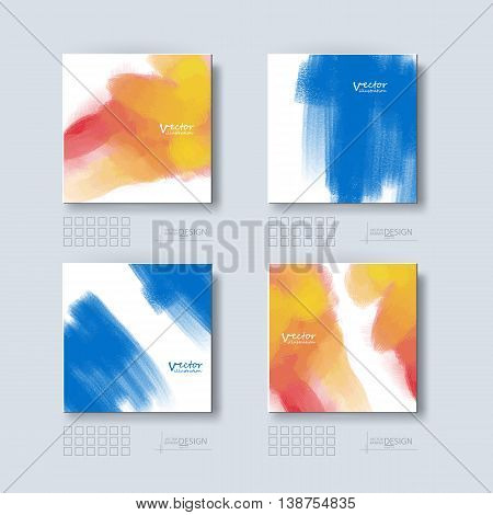 Business design templates set. Brochure with Color Paint Backgrounds. Abstract Modern Vector Illustration.