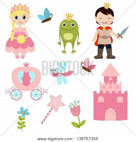 Vector icons collection as design elements a set of princess theme with castle frog prince carriage.