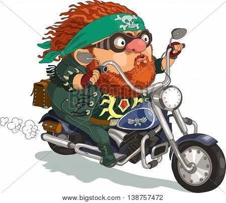 Funny cartoon. Vector illustration. Сool bearded biker rides a motorcycle. Isolated objects.