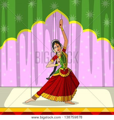 Vector design of colorful Rajasthani Puppet doing Bharatanatyam classical dance of Tamil Nadu, India