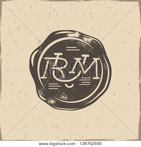 Vintage handcrafted wax seal template with monogram Rum. Use as pirate emblem, label, logo. Isolated on a scratched paper background. Sketching filled style. Vector silhouette template.