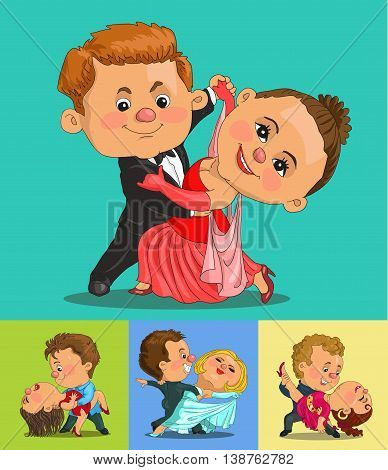 Funny cartoon. Vector illustration. funny couple dancing the waltz and tango. Isolated objects.