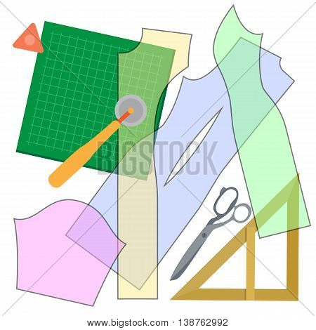 Set of elements for sewing clothes . Collection cutting items for modeling dress. Sewing hand made hobby. Fashion tools in flat design. Vector illustration