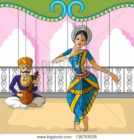 Vector design of colorful Rajasthani Puppet doing Odissi classical dance of Odisha, India