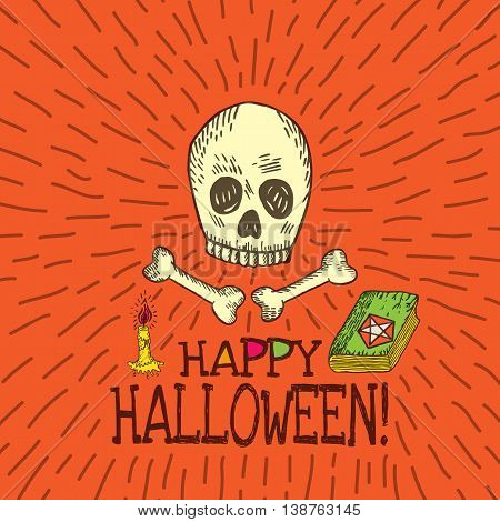 Halloween card with hand drawn skull spell book and candle on orange background. Vector hand drawn illustration.