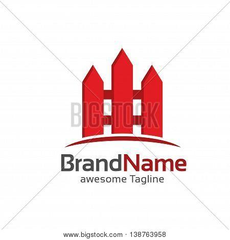 fence creative symbol concept. Home and garden decoration logo