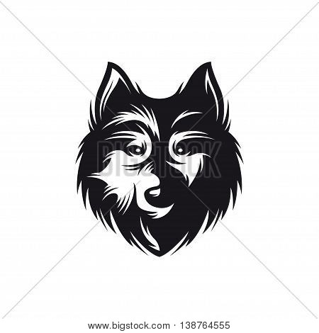 Wolf head monochrome symbol. Hand crafted wolf emblem. Detailed element for label badge icon logo design. Authentic vintage graphics. Vector illustration.