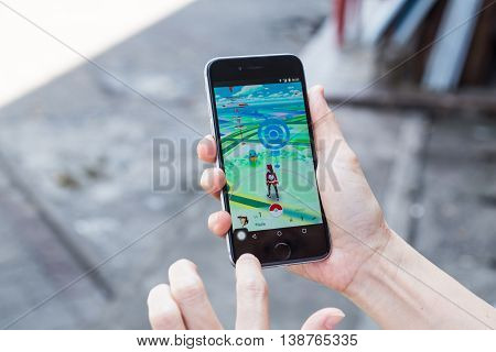 Kuala Lumpur, Malaysia, July 16, 2016: An Ios User Plays Pokemon Go, A Free-to-play Augmented Realit