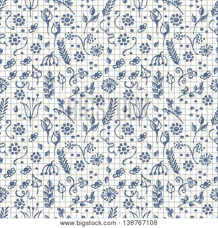 Seamless vector pattern, background with flowers and leaves on the checkered paper. Hand sketch drawing. Imitation of ink pencilling. Series of Hand Drawn Patterns.