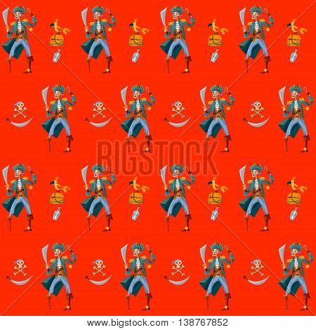 Skeleton Pirate wooden chest with gold parrot and Jolly Roger. Seamless background pattern. Vector illustration