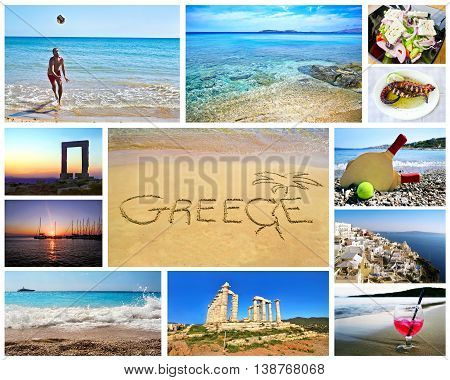collage of greek summer photos - ancient landmarks - island sea - greek food