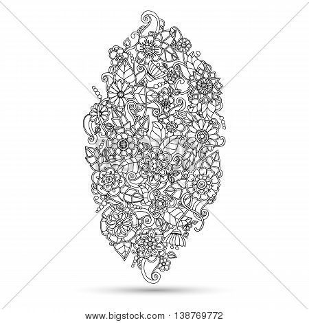 Ethnic floral zentangle doodle floral background pattern in vector. Henna paisley mehndi doodles design tribal design element. Monochrome pattern for coloring book for adults and kids.