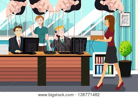 A vector illustration of businesspeople hanging on string like marionette for controlling concept