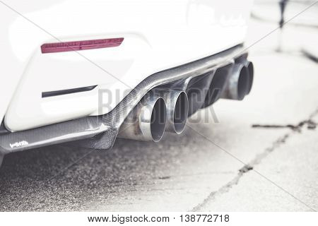 Double Exhaust Pipes Of A Modern Sports Car,