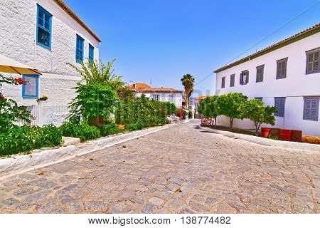 traditional road and architecture at Hydra island Saronic Gulf Greece