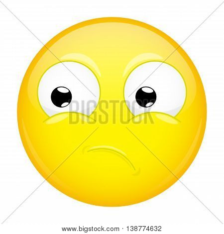 What emoji. Wow emotion. Puzzled emoticon. Vector illustration smile icon.