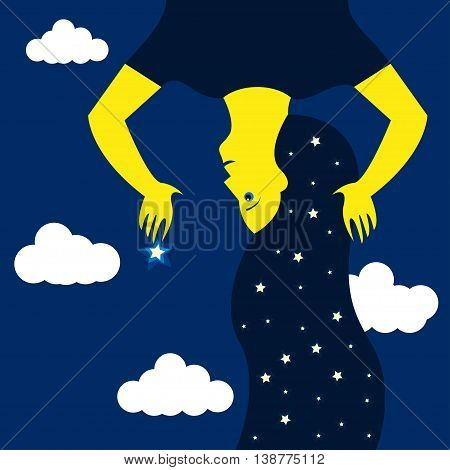 Woman of the night, stars and clouds The stars in the woman's hair Woman holding a star in her hand at night