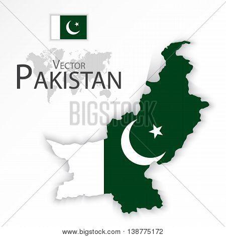 Pakistan ( Islamic Republic of Pakistan ) ( flag and map ) ( transportation and tourism concept )
