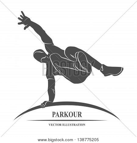 Icon man jumping outdoor parkour. Vector illustration.