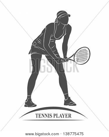 Icon tennis player with a racket. illustration.