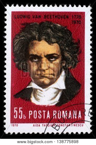 ZAGREB, CROATIA - JULY 19: stamp printed by Romania, show Ludwig van Beethoven, Composer, circa 1970, on July 19, 2012, Zagreb, Croatia