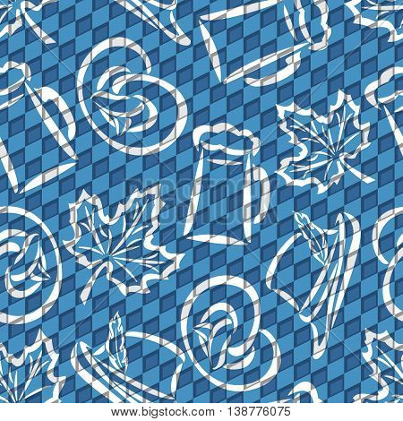 Vector background bavarian seamless pattern flag oktoberfest. On Background blue rhombus diamond  - symbols Oktoberfest: mug beer, pretzel, tyrolean hat, maple leaf. Textile tablecloth Bayern poster
