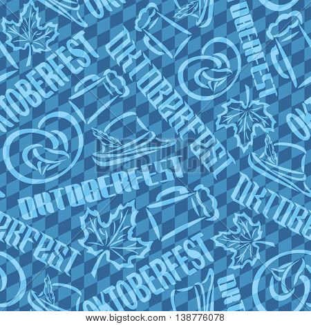 Vector background bavarian seamless pattern flag oktoberfest. On Background blue rhombus diamond  - symbols Oktoberfest: mug beer, pretzel, tyrolean hat, maple leaf. Textile tablecloth Bayern