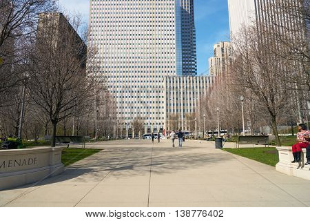 CHICAGO, IL - CIRCA MARCH, 2016: Millennium Park in the daytime. Millennium Park is a public park located in the Loop community area of Chicago in Illinois.