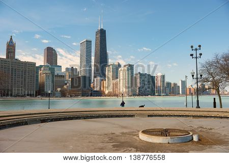 CHICAGO, IL - CIRCA APRIL, 2016: view of Chicago in the daytime. Chicago is the third most populous city in the United States.