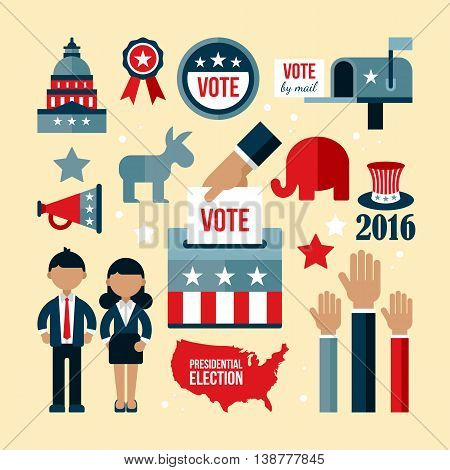 Presidential election icon set. Presidential election vote concept for web and graphic design