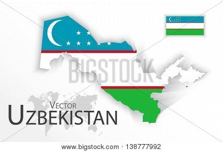 Uzbekistan ( Republic of Uzbekistan ) ( flag and map ) ( transportation and tourism concept )