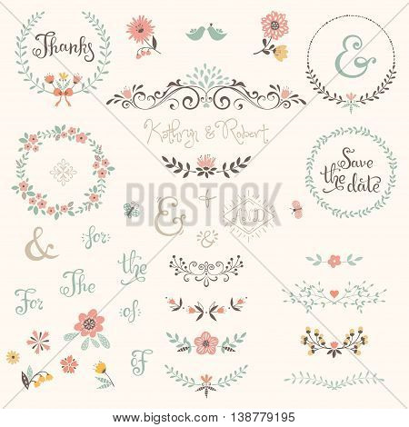 Wedding graphic set with swirls, laurels, wreaths, branches, flowers, birds, butterflies, catchwords and ampersands.