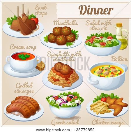 Set of food icons. Dinner. Lamb chops, spaghetti with meat balls, salad with olive oil, cream soup, bollion, grilled sausages, greek salad,  and chicken wings.