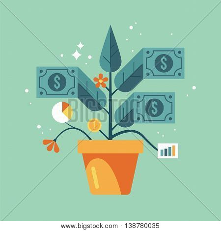 Finance growth concept. Making money business investment profit or financial management concept. Money tree.