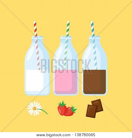 Bottles with milk stawberry milk and chocolate milk. Flat modern icons of milk for graphic and web design.