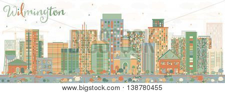 Abstract Wilmington Skyline with Color Buildings. Vector Illustration. Business Travel and Tourism Concept with Modern Buildings. Image for Presentation Banner Placard and Web Site.