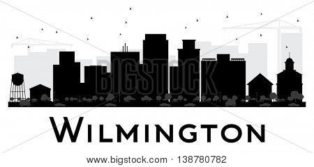Wilmington City skyline black and white silhouette. Vector illustration. Simple flat concept for tourism presentation, banner, placard or web site. Business travel concept. Cityscape with landmarks