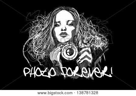 Illustration girl with camera art vector on black background
