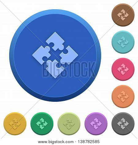 Set of round color embossed modules buttons