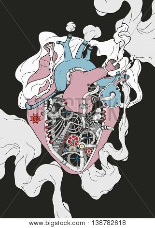 Mechanical human heart background smoking illustration for business