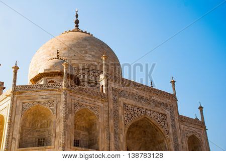 Taj Mahal on the background of blue sky. Agra India