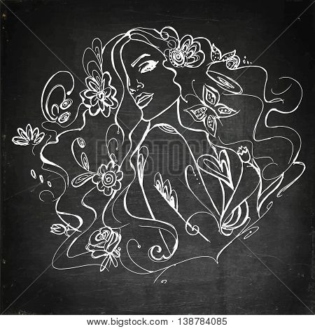 Young beautiful girl with flowers. Hand drawn vector stock illustration. Chalk board drawing.