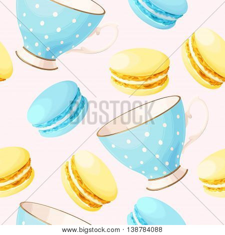 Cute pastel teacups and macarons vector seamless background